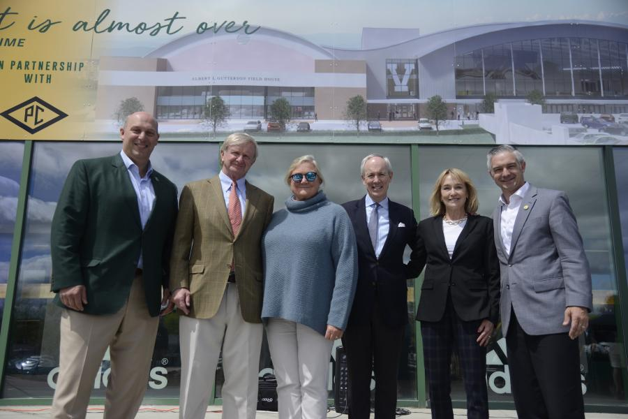 (L-R) are Jeff Schulman, director of athletics; Chuck Davis; Marna Davis; Tom Sullivan, UVM president; Leslie Sullivan; and Shane Jacobson, president and CEO of the UVM Foundation at a ceremonial groundbreaking for UVM's new Multi-Purpose Center. Chuck and Marna Davis made a key gift to the project.
