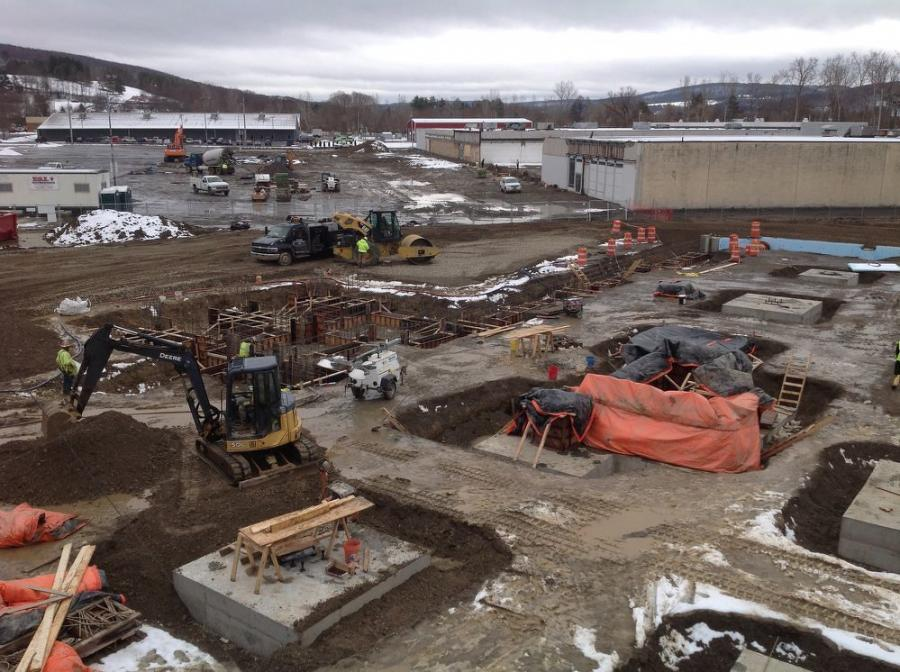 The project has required the use of several excavators, off-road dump trucks, mini excavators, dozers, rollers and cranes. (LeChase photo)
