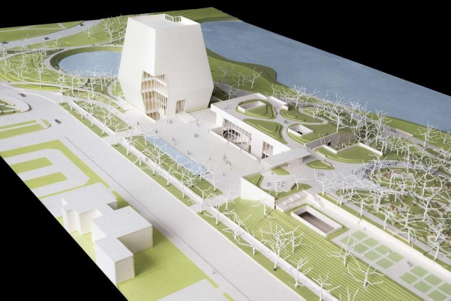 Conceptual site model of the Obama Center 