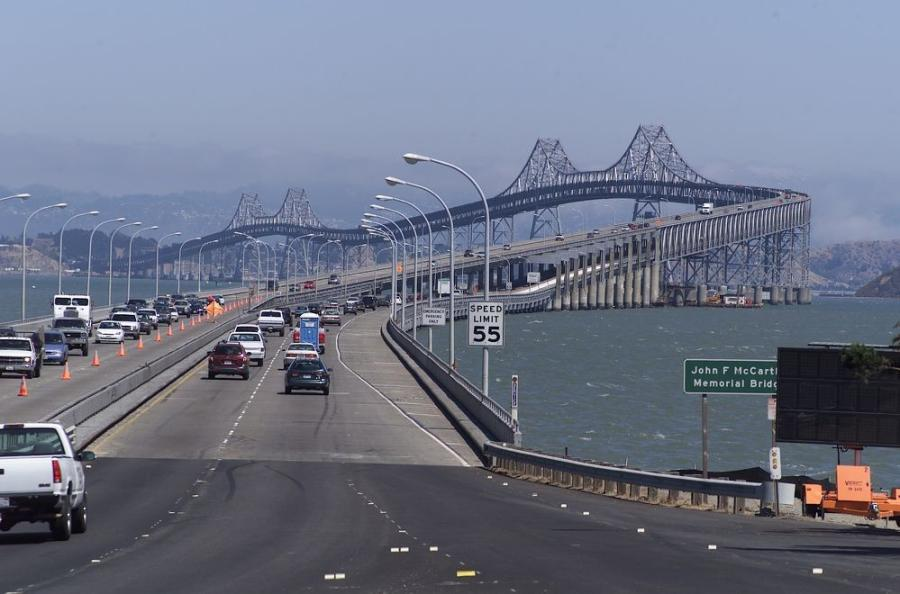 Opened in 1956, the Richmond-San Rafael Bridge utilizes two decks to carry traffic across Interstate 580 and connects San Rafael in the west to Richmond in the east.