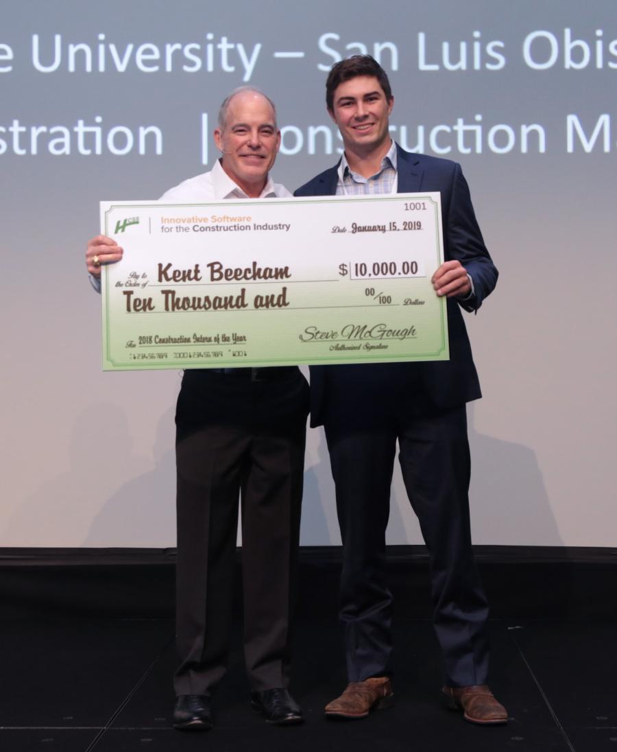 Kent Beecham (R) was named 2018 Construction Intern of the Year by HCSS. He received a $10,000 grand prize scholarship check from HCSS President Steve McGough.