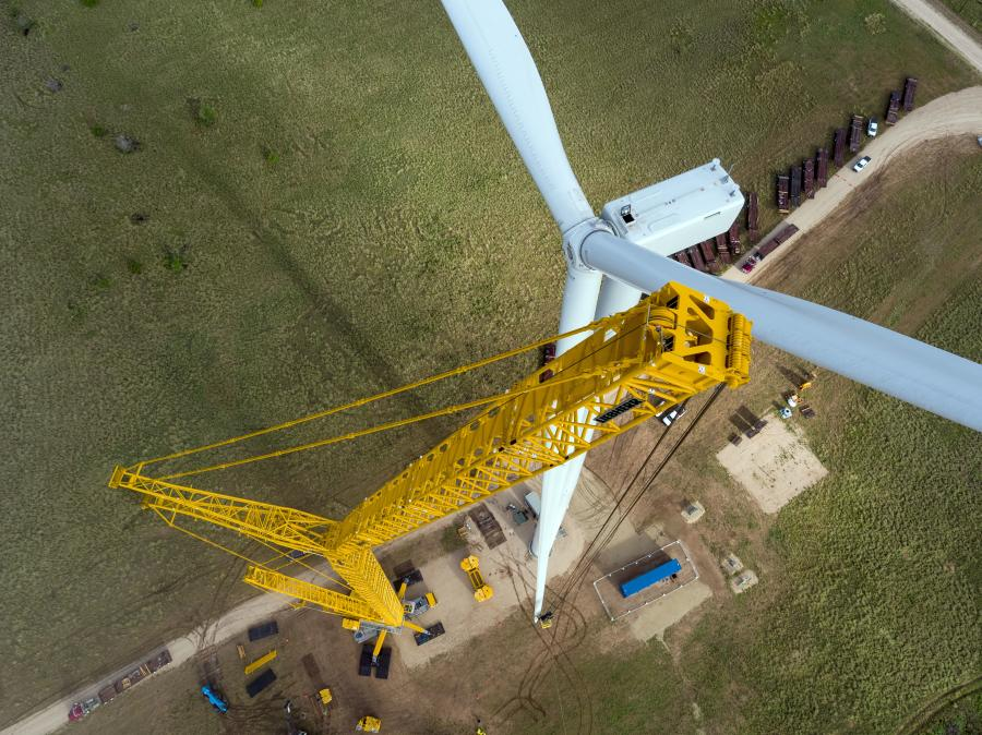 Crews use the LG 1750 crane to install the wind turbine's blade socks.