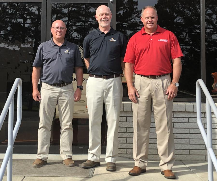 McClung-Logan Equipment Company Inc., a heavy construction equipment dealer in the Mid-Atlantic region, has acquired Virginia-based White Oak Equipment Inc. (L-R) are Mark McCarty, co-owner, vice president, secretary and treasurer of White Oak Equipment, Tom Ficklin, co-owner, president and CEO of White Oak Equipment, and Darrin Brown, president of McClung-Logan.