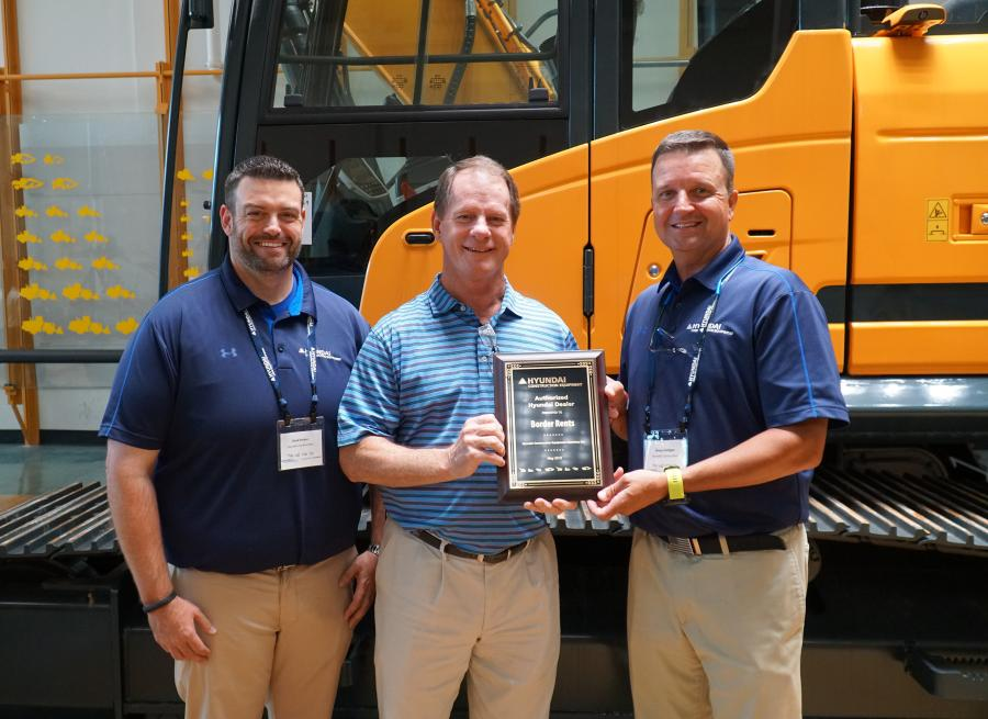 (L-R) are Chad Parker, senior product specialist; Rick Cloninger, Border Rents branch manager; and Shaun Galligan, HCEA district manager — Southeast.