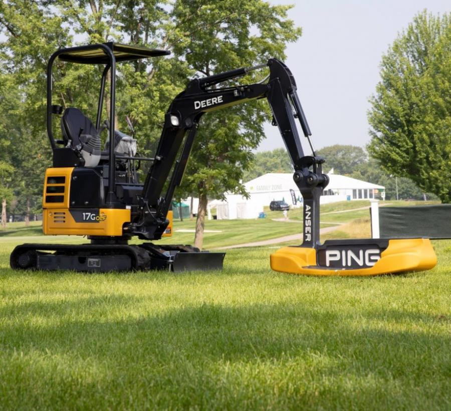 Just as golf fans are sure to geek out at the sight of John Deere's invention, employees who worked on the machine were just as excited about this crossover between heavy machinery and sports.