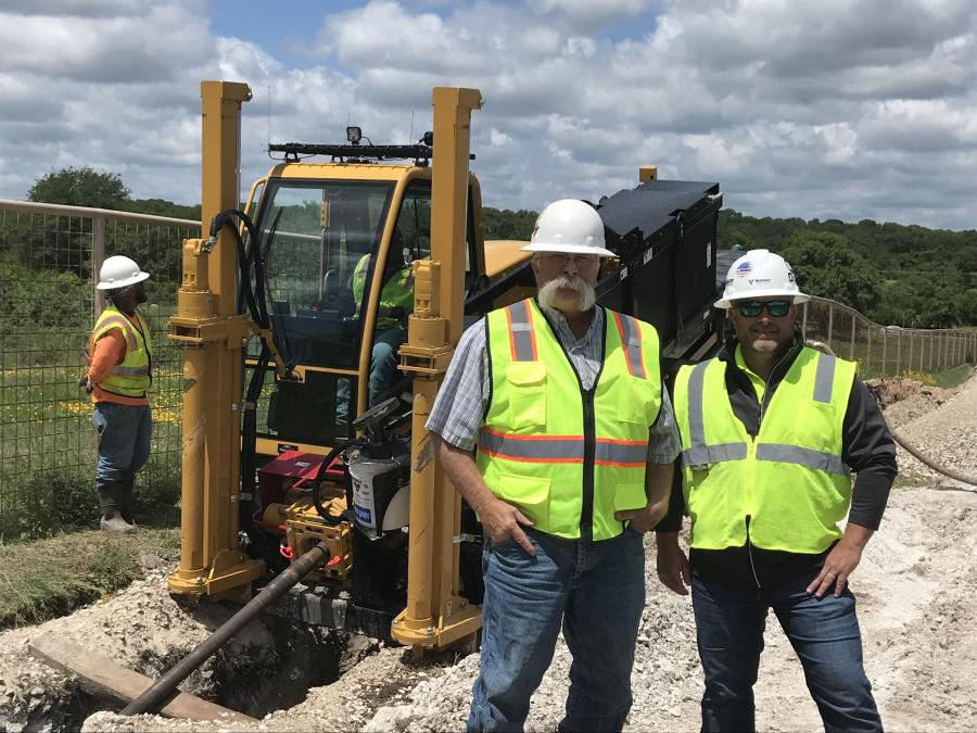 Mark Hettinger (L) has found new life in Texas after selling his successful Wyoming pipeline company, Hettinger Welding (later Hettinger LLC). Hettinger said Chris May (R) and the entire Texas Vermeer-Louisiana team have been a huge asset for his new company, M&G Contractors.