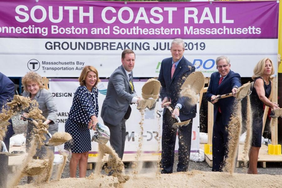 Officials celebrate the beginning of Phase 1 South Coast Rail along the New Bedford Main Line in East Freetown, an area in which culvert work is taking place.