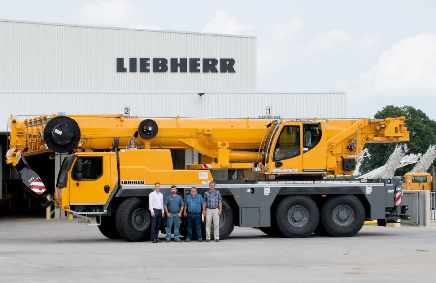(L-R): Daniel Pitzer, Paul Prillaman, David Kaufman and Bret Jacobson celebrate the handover of an LTM 1090-4.2 to Prillaman's Crane & Rigging at Liebherr USA, Co. headquarters.