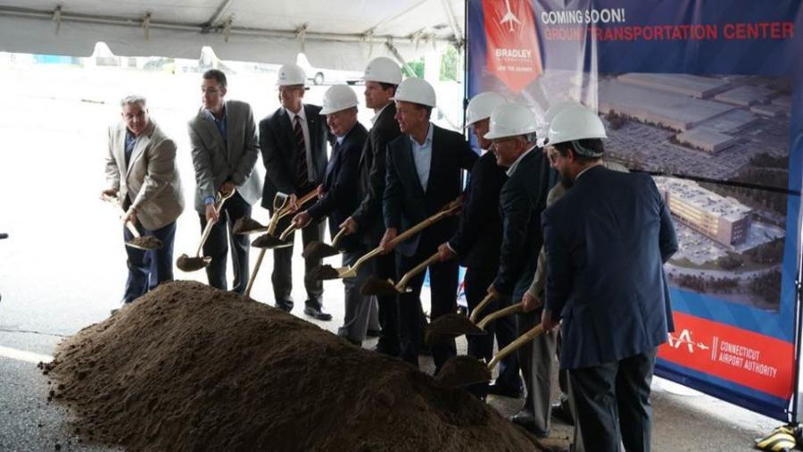 Gov. Ned Lamont, state leaders, Connecticut Airport Authority officials and project stakeholders held a ceremonial groundbreaking ceremony at the construction site of Bradley International Airport's new Ground Transportation Center July 18.