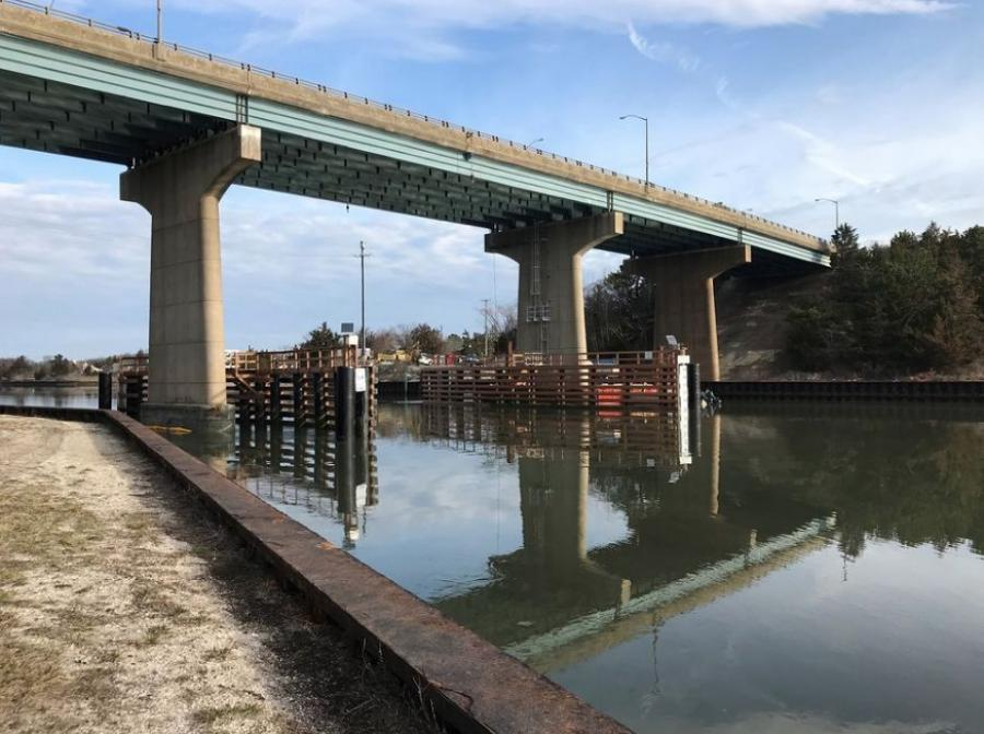 The $11.3 million project replaced the original timber pile fenders that were in poor condition on bridges carrying Routes 109, 147 and 162 over navigable waterways in Cape May County.  (NJDOT photo)