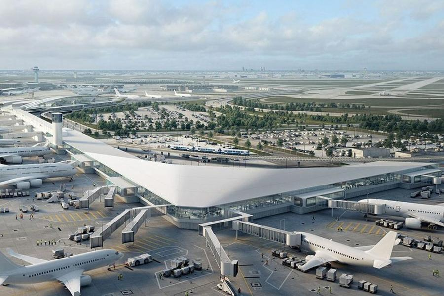 Rendering of O'Hare International Airport's Terminal 5 post-expansion, which is expected to be largely delivered by 2021.