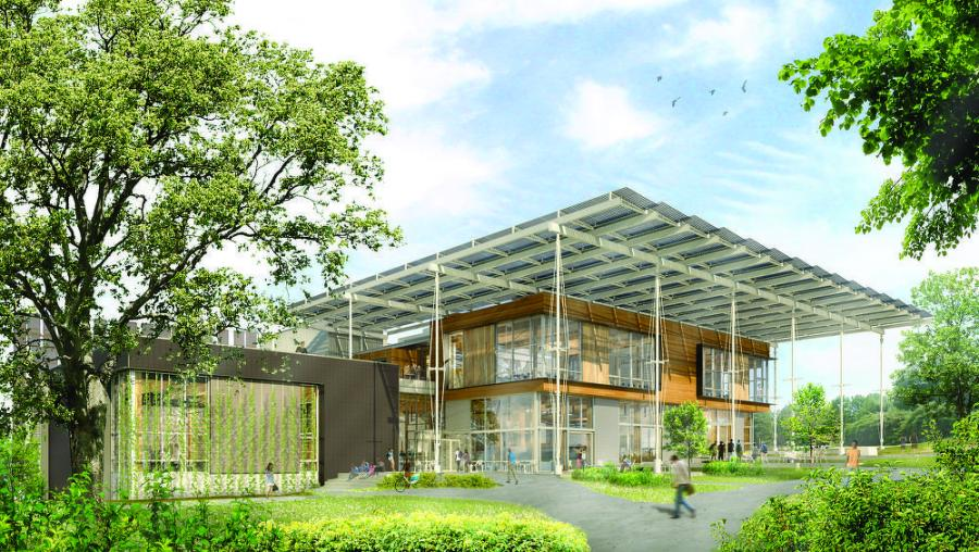 A rendering of what the Kendeda Building will look like from its northwest main entrance.