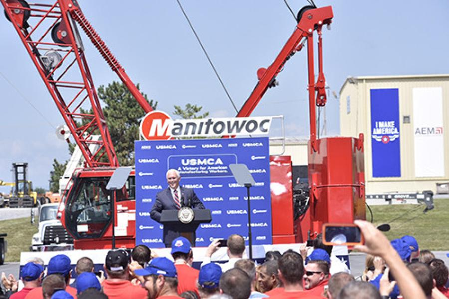 Vice President Mike Pence visited Manitowoc's Shady Grove, Pa., facility on Aug.1, to discuss the USMCA and how this new trade deal would benefit Pennsylvania and all of America.