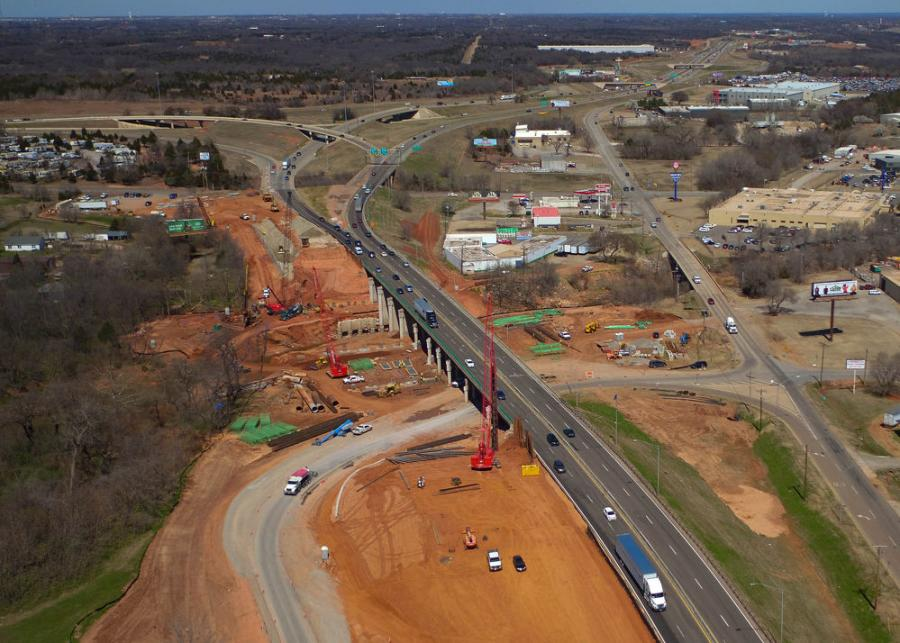 The state's national ranking for bridge conditions continues to improve due to a long focus on eliminating Oklahoma's structurally deficient bridges, including the $31 million reconstruction of the I-35 bridges over Deep Fork Creek in northeast Oklahoma City. (Oklahoma Department of Transportation photo)