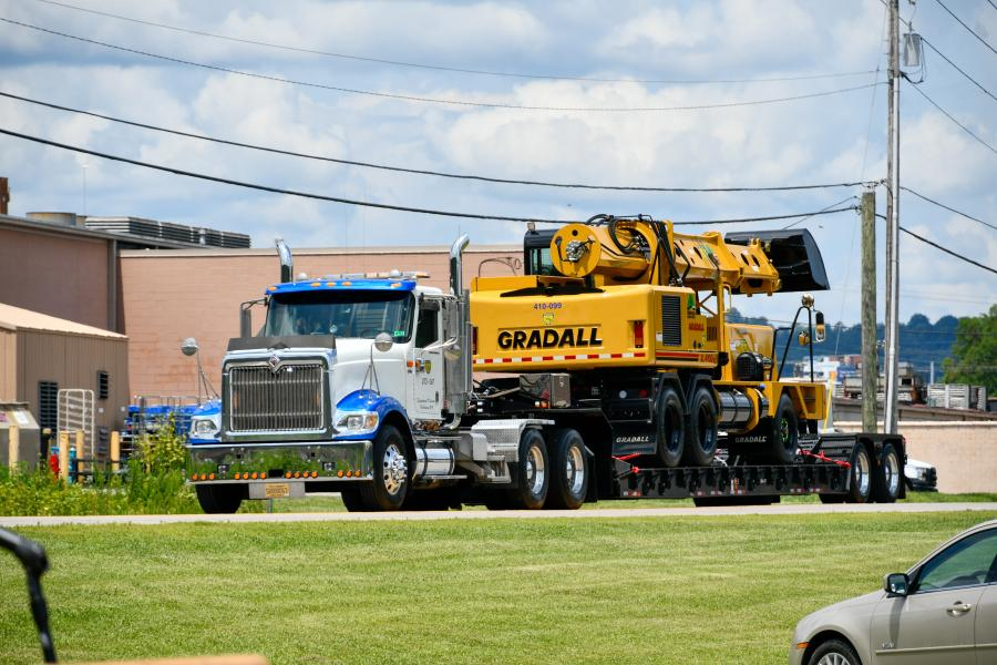 The special delivery marked the first of 10 new Gradall machines that Gov. Justice announced will soon be coming to all corners of the state, as part of his commitment to provide more resources to fix West Virginia's secondary road system.