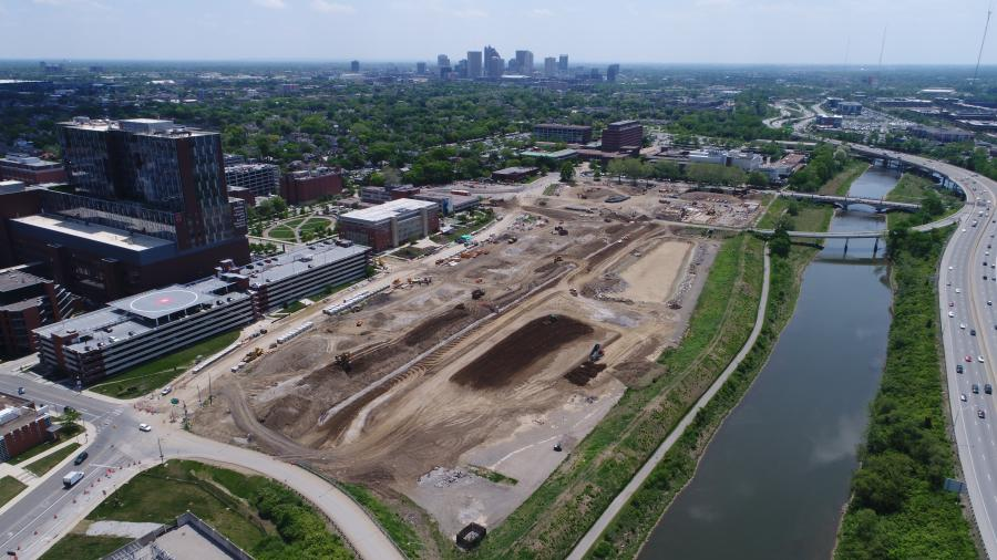 Overhead view of the $51.9 million phase one of Ohio State University's Framework 2.0 Master Plan.