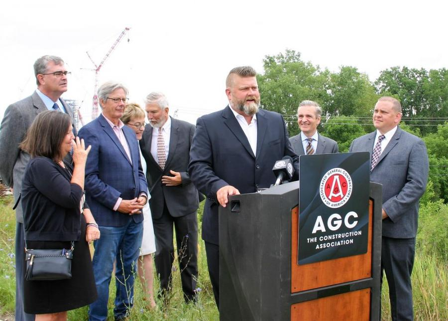 (L-R): Lucas County Commission chair Tina Skeldon-Wozniak, Ohio Contractors Association President Chris Runyan, Lucas County Commissioner Pete Gerken, U.S. Rep. Marcy Kaptur (Ohio 9th District), Lucas County Commissioner Gary Byers, AGC of Northwest Ohio CEO Joshua M. Hughes, AGC of America Vice President of Public Affairs and Strategic Initiatives Brian Turmail and Toledo Mayor Wade Kapszukiewicz.