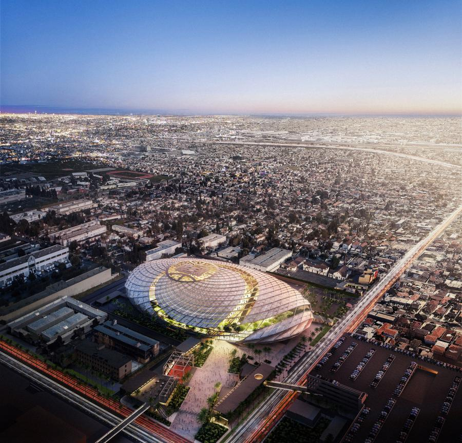 The proposed arena will have a three-dimensional oval design with a unique exterior of diamond-shaped metal panels inspired by the concept of a basketball swishing through a net.  (LA Clippers rendering)