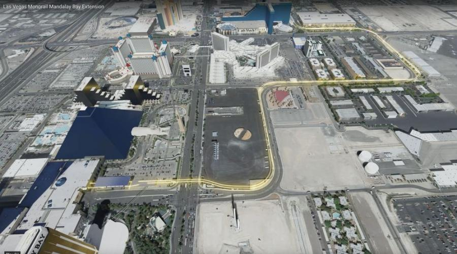 Planned route for the Las Vegas Monorail Mandalay Bay extension.