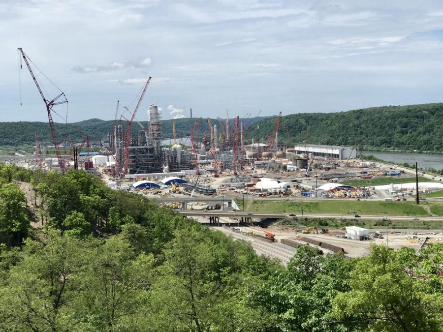 Progress continues on the reported multi-billion-dollar Shell Chemical Appalachia LLC ethylene cracker plant in Beaver County, Pa., 30 mi. northwest of Pittsburgh.