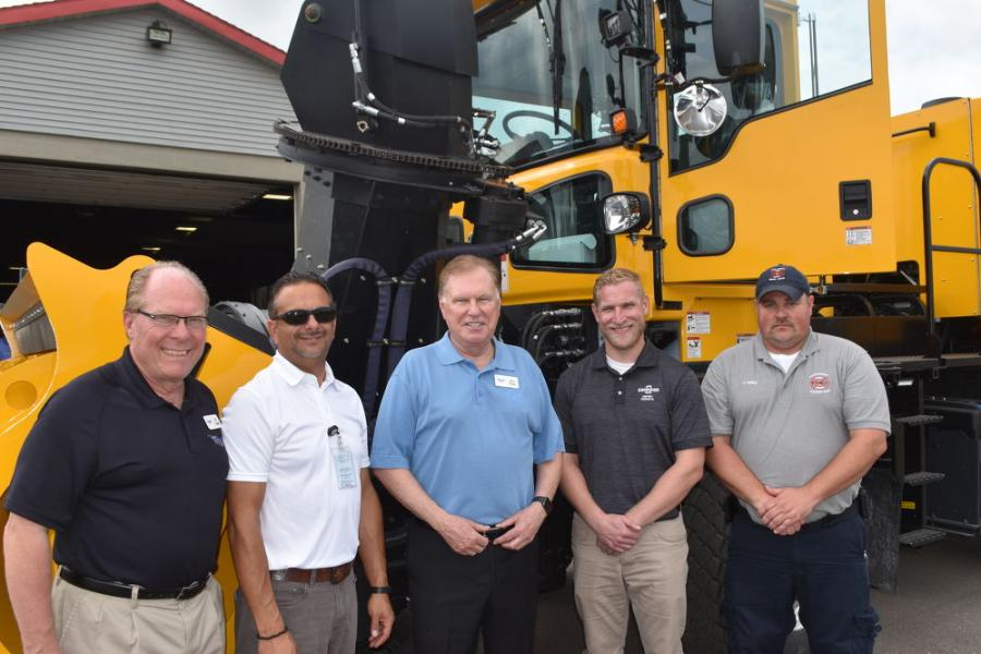 (L-R) are: Art Ospelt, Tracey Road Equipment; Tony Geruso, fleet manager, Syracuse Regional Airport; Jerry Tracey, Tracey Road Equipment; Tim Donahue, regional sales manager of Oshkosh Airport Products; and Josh Nalley, deputy airport director at Ithaca Airport.