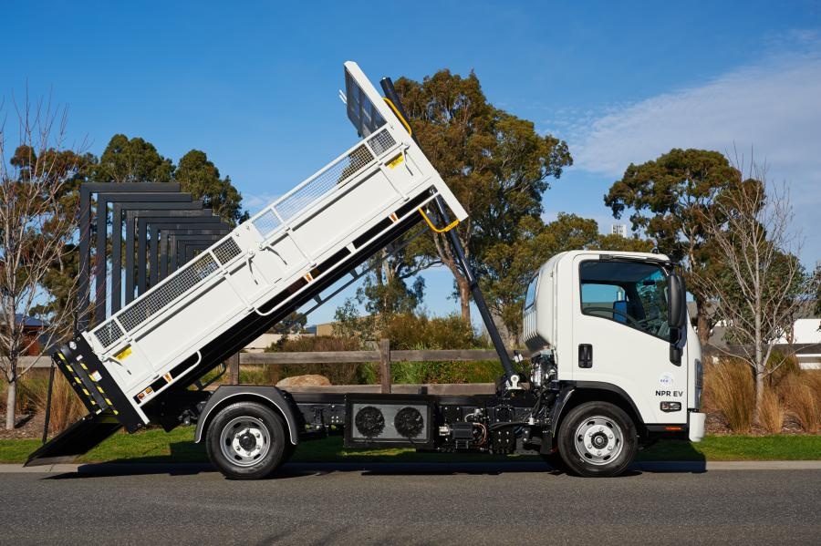 The electric tipper is built on an Isuzu NPR 65-190 platform, however future orders can be adapted to most OEM glider platforms.