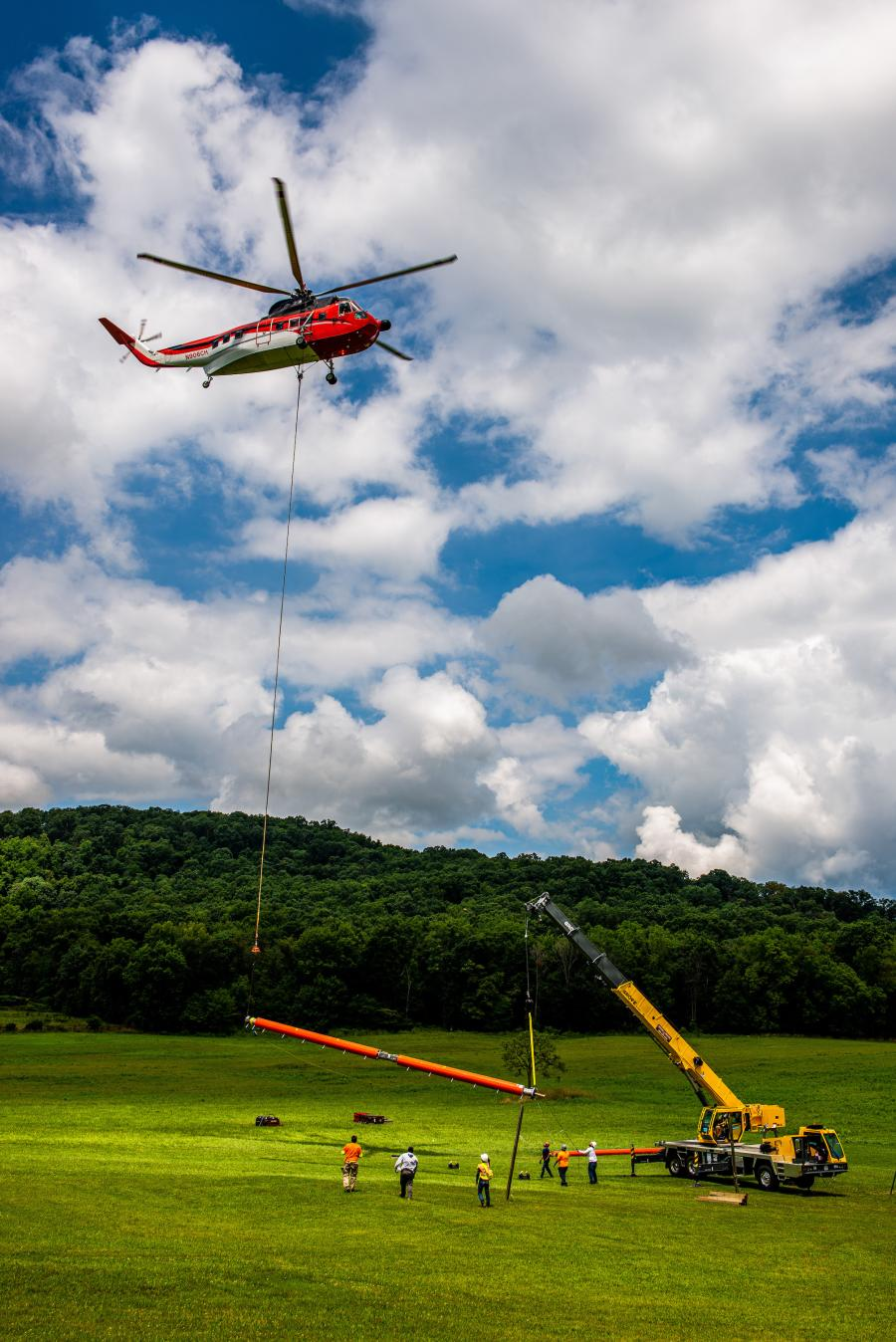 A Grove TMS500-2 truck crane assisted a helicopter with the installation of a new radio tower in Clear Spring, Md.