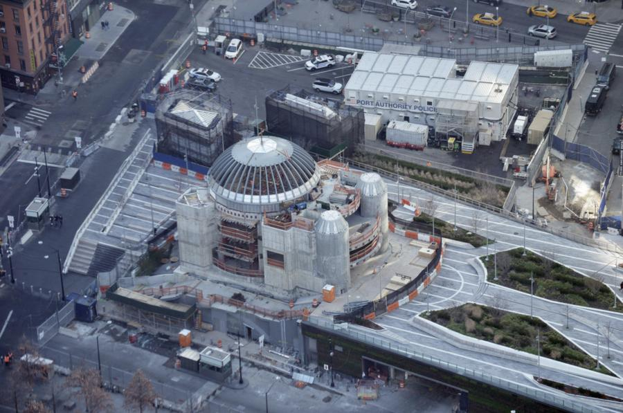 Maybe the most visible sign of unfinished work at the World Trade Center is the unfinished, concrete facade of the St. Nicholas Greek Orthodox Church, perched across the street from the southeast corner of the memorial plaza. (Harvey Barrison Creative Commons photo)