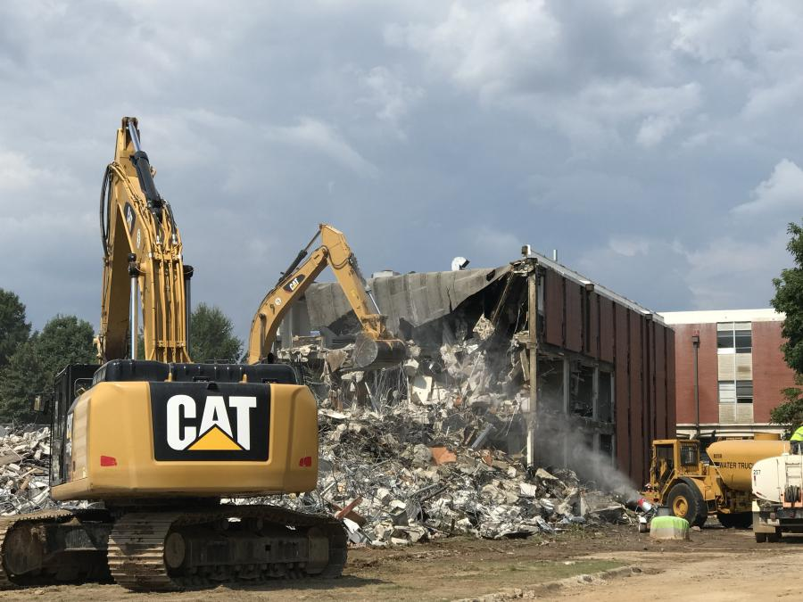 With the first of two buildings on Auburn University's campus now reduced to rubble, construction crews are one step closer to building the $83 million Academic Classroom and Laboratory Complex.