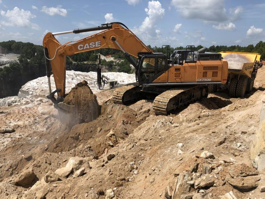The Case CX750 excavator in operation at the Oconee County Quarry in South Carolina was purchased from Hills Machinery.