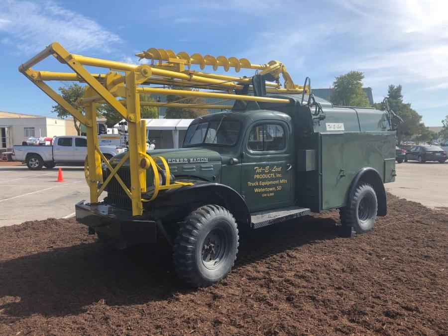 To celebrate the 75th anniversary of its digger derrick product line, Terex Utilities showed Tel-E-Lect digger derrick Model T15, mounted on a Dodge Power Wagon, circa 1956.