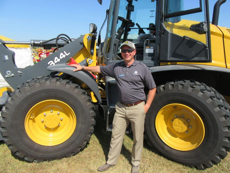 John Deere's Piotr Lizak discussed John Deere's new high-lift option on the 344L compact loader at the show.
