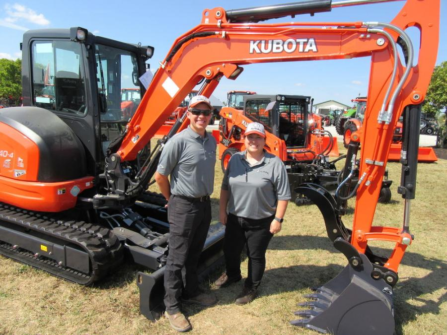 Kubota's Garrett Leeds (L) and Patricia Sislar had a wide range of equipment to talk about at the Farm Science Review.