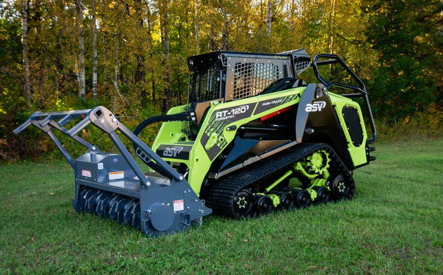 "ASV Holdings Inc. featured ""The Green Beast,"" a special edition green and black version of its RT-120 Forestry Posi-Track loader at GIE+EXPO 2019. The coloring on the sleek machine showcases key features of ASV's unique Posi-Track undercarriage."