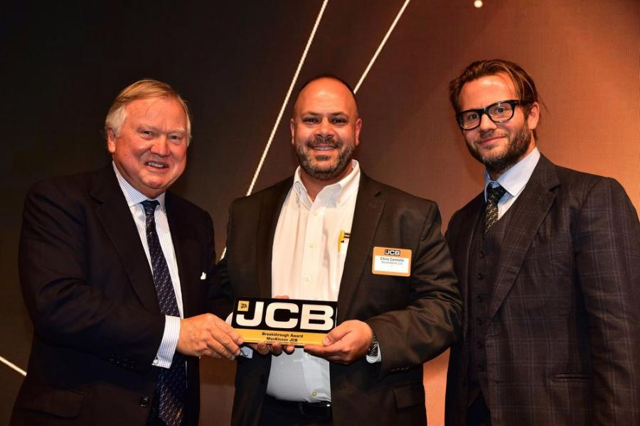 (L-R): JCB Chairman Lord Anthony Bamford; MacKinnon JCB Vice President of Construction Sales, Chris Cantiello; and George Bamford.