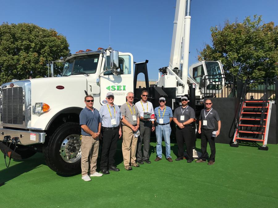 (L-R) are: Darin D'Ascanio, territory manager, SEI; Frank Bauman, president, Bauman Crane; Rich Nichols, owner, Bob's Crane Service; Steve Tucci, crane division sales manager, SEI; Joe Smith, equipment manager, Bauman Crane; Bob Ritter, product manager, National Crane; and Tom Jacobs, regional business manager, National Crane.