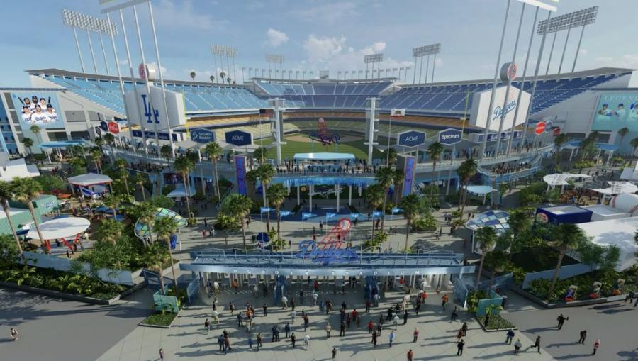 The Los Angeles Dodgers plan to welcome the All-Star Game back to Dodger Stadium with a $100 million renovation of their landmark ballpark. (Los Angeles Dodgers rendering)