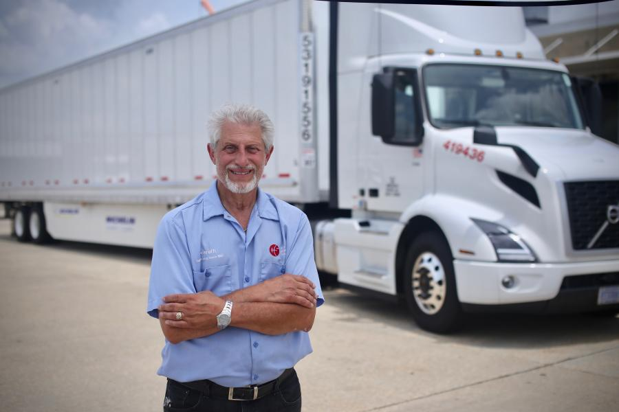 C&S Wholesale Grocers driver Louis Scaruffi ran out-and-back deliveries to grocery stores across Louisiana, Mississippi, Alabama and Florida in a 2019 Volvo VNR 300 day cab with a Volvo D13 engine and 6x4 configuration.