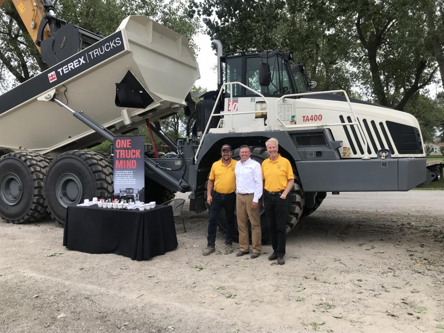 (L-R) are: Troy Tate, service manager, Thoesen Tractor & Equipment; Gregory Gerbus, regional sales manager, Terex Trucks; and Joe Thoesen, president of Thoesen Tractor & Equipment.