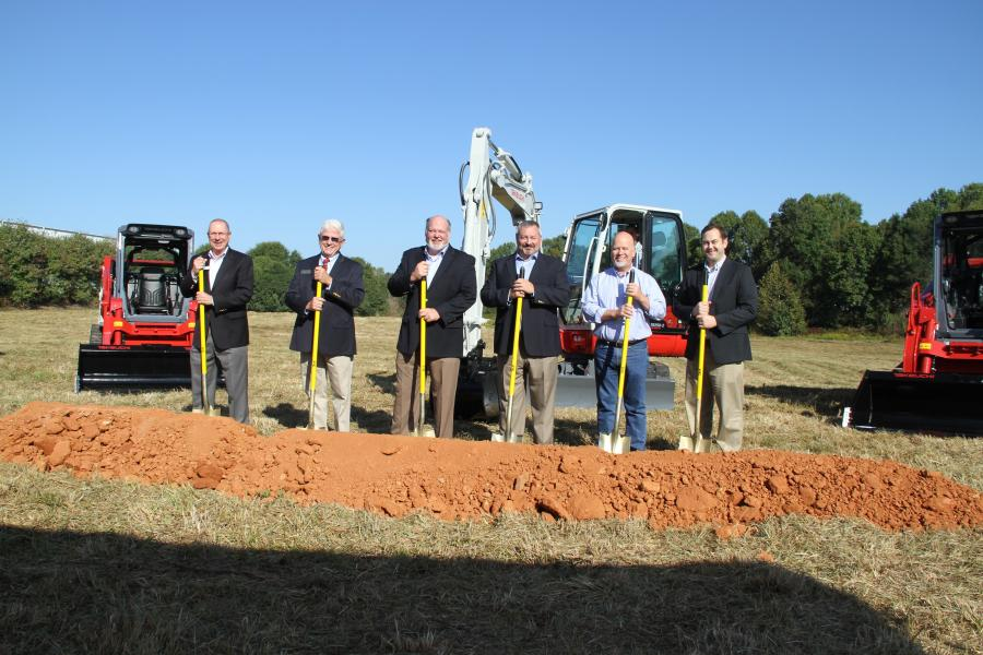 (L-R) are: Jim Shaw, chamber president of Jackson County Chamber of Commerce; Tom Crow, district one commissioner for Jackson County; Clay Eubanks, president Takeuchi -US;  Jeff Stewart, vice president/general manager of Takeuchi-US; James Tipton, president and owner of Tipton Construction; and John Scott, vice president and director of economic development.