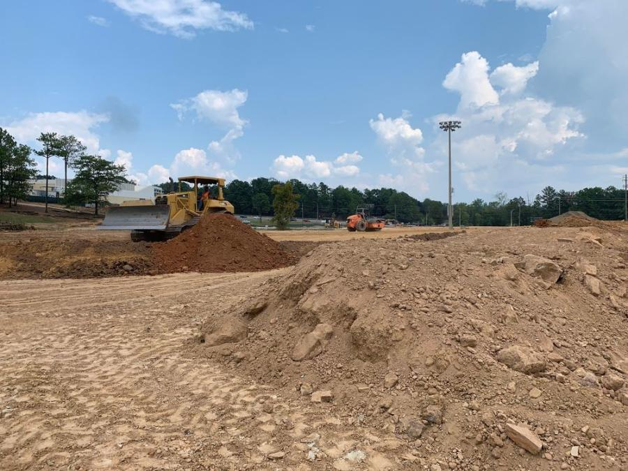 More than 7,500 cu. yds. of dirt/material will be moved on the project. Excess dirt from another location was used to level the park.