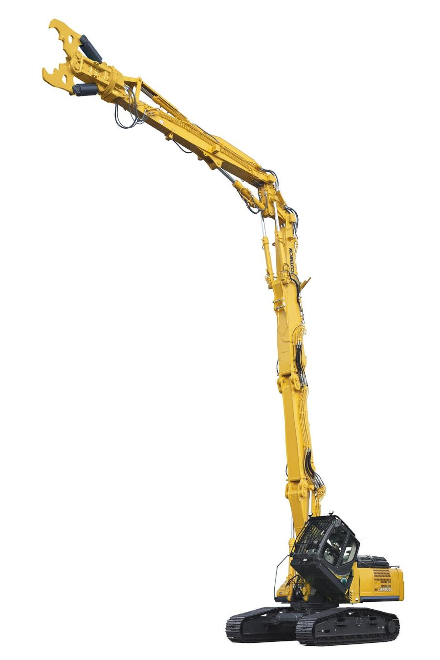 The Kobelco SK400D and SK550D can demolish buildings up to nine stories high from the ground.