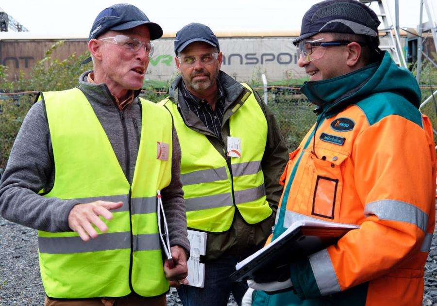 (L-R): David DesAutels of Leidos, Rick Sack of Wagner Equipment and Marko Salonen of Metso discuss the equipment inspection.