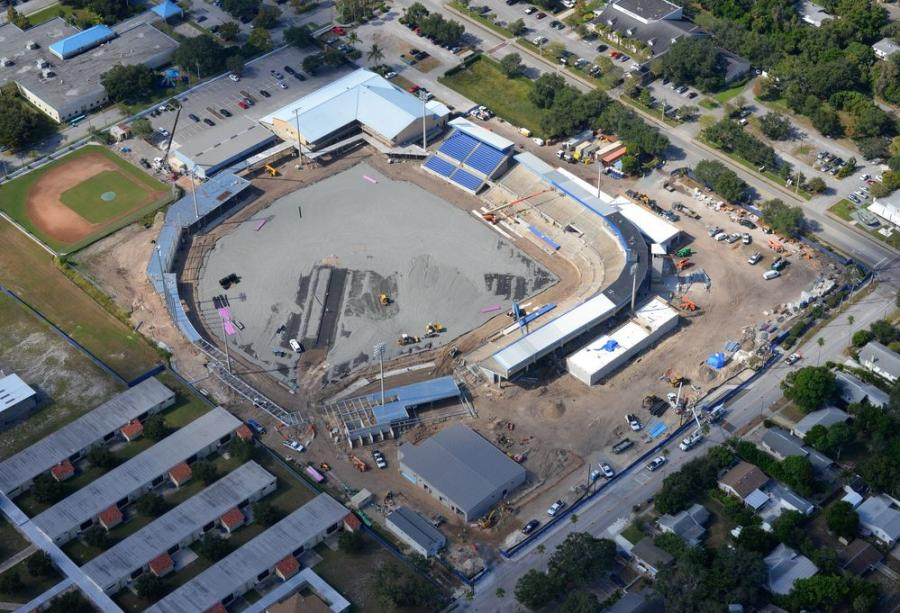 Aerial view of concrete being poured and paved at the newly-renovated Dunedin Stadium.