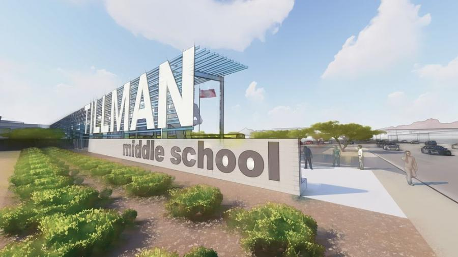 Pat Tillman Middle School will include a nearly 70,000 sq.-ft. building with 42 new classrooms, administrative offices, STEM learning flex space and two new laboratories.