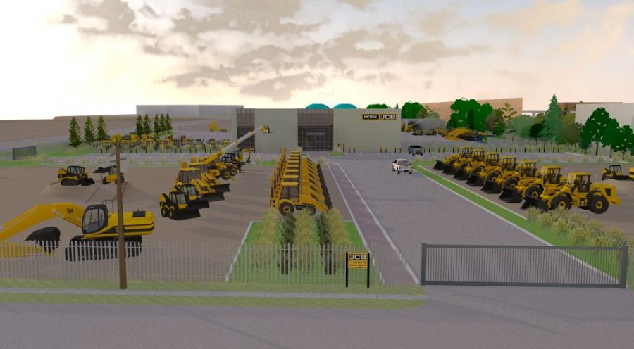 Work has begun on a new Monk JCB construction equipment dealership facility on a 10-acre site at 11211 N. Freeway, Houston. (CB North America Rendering)