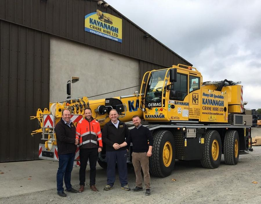 (L-R) are: Pat Kavanagh, financial director, Kavanagh Crane Hire; Lyle Sibbald, regional sales manager, Demag Mobile Cranes; Paul Kavanagh, director, Kavanagh Crane Hire; and Tony Mullin, senior field service engineer, Demag Mobile Cranes.