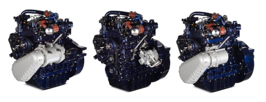From left, Perkins electric, hydraulic and mechanical hybrid engine technologies can add real value to agricultural machine manufacturers as they develop the next generation of farm machines.