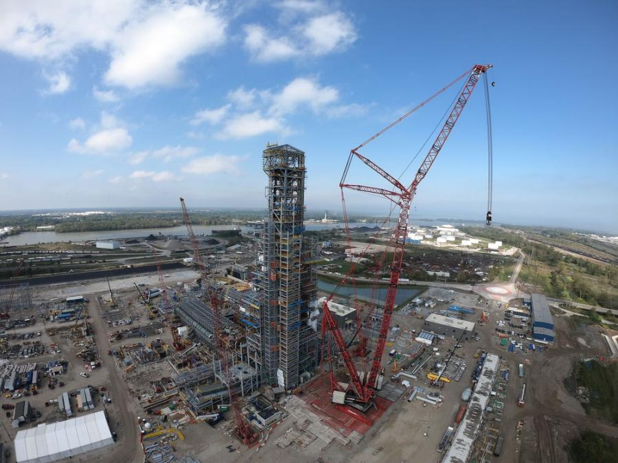 Furnace tower topped off: maximum height of 457 ft. has been reached.