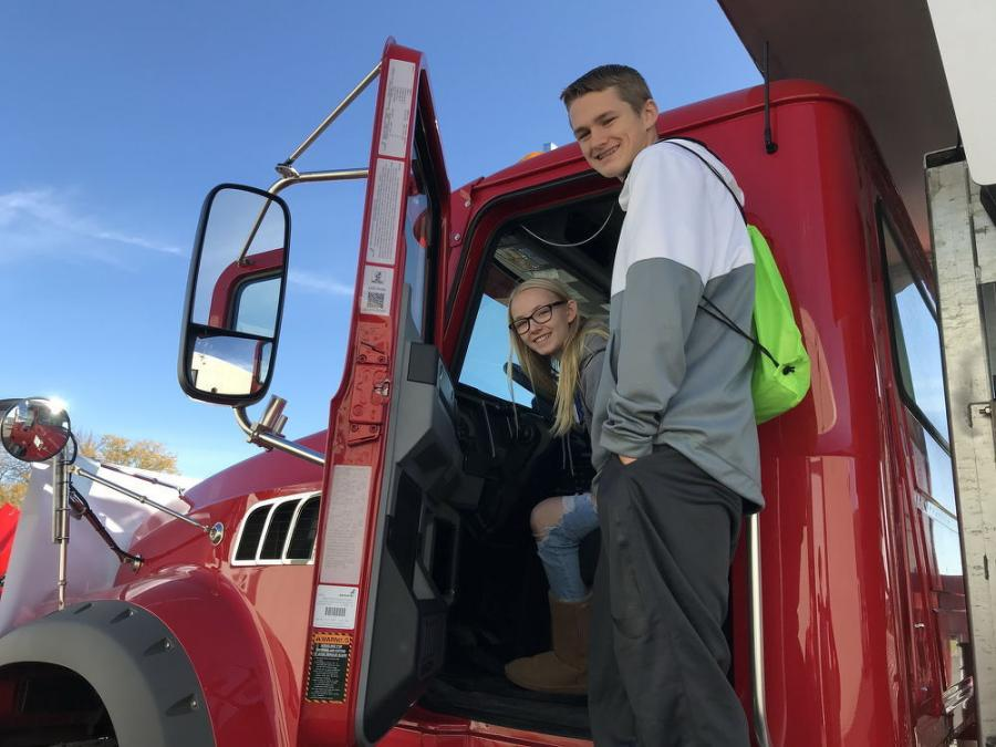 "Students check out a Towmaster built plow truck during the ""Ignite Your Future"" event at Ridgewater College in Hutchinson, Minn."